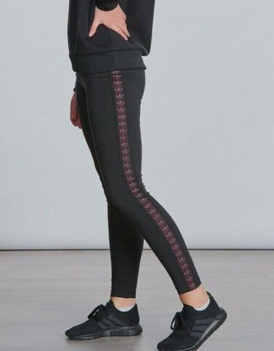 Junior Girls adidas Trefoil Tape Leggings Black Size 7,8,9,10,11,12,13,14 EI7456